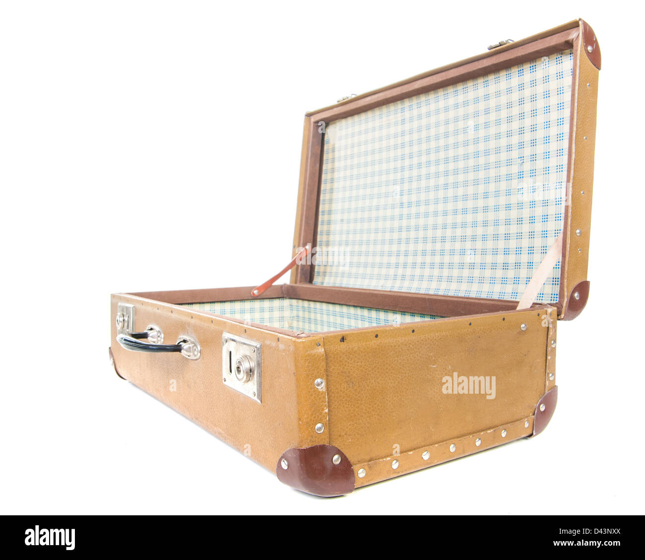 Vintage suitcase. Clipping path included. - Stock Image
