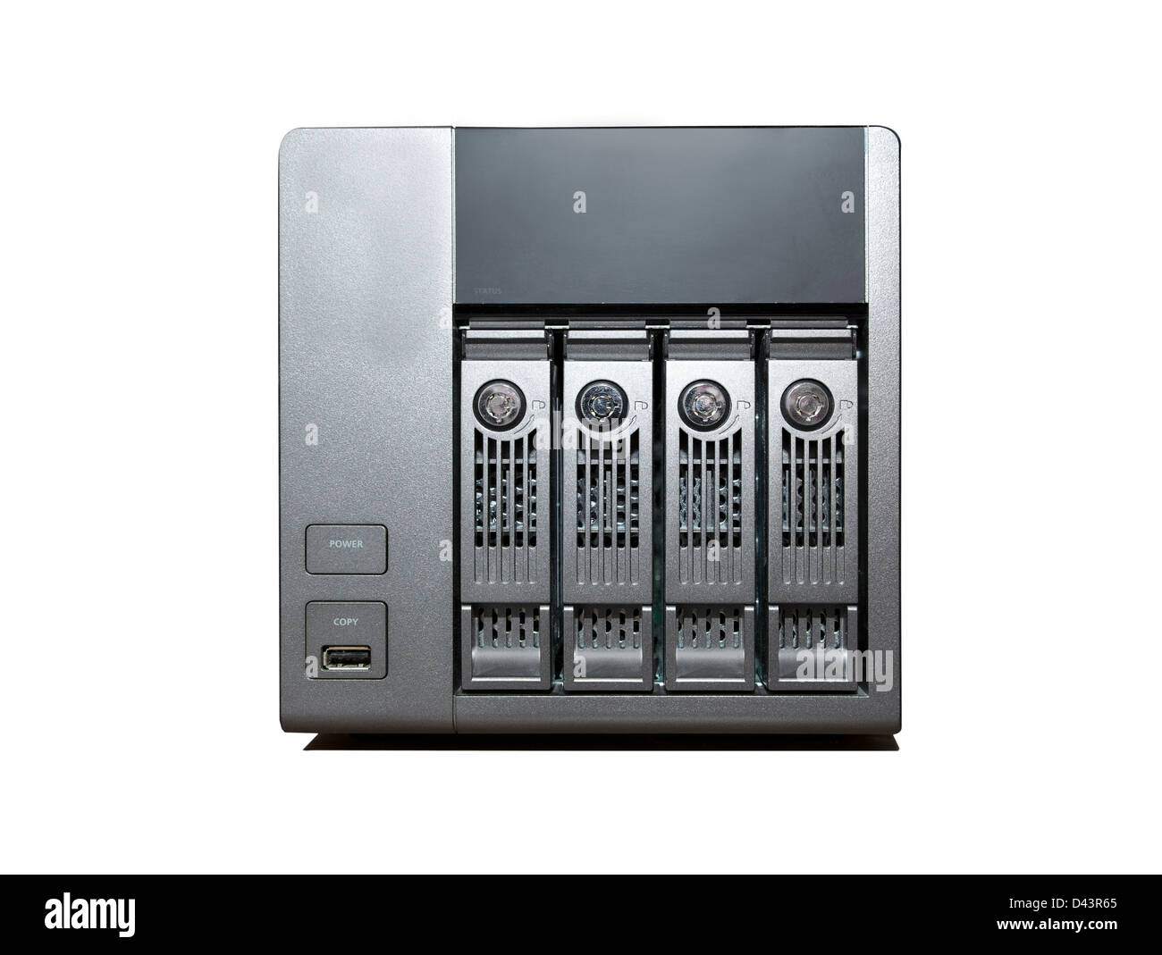 4 bay NAS Drive isolated on a white background - Stock Image