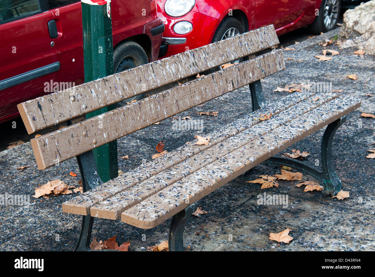 Bench with bird droppings, Ajaccio, Corsica, France, Europe - Stock Image