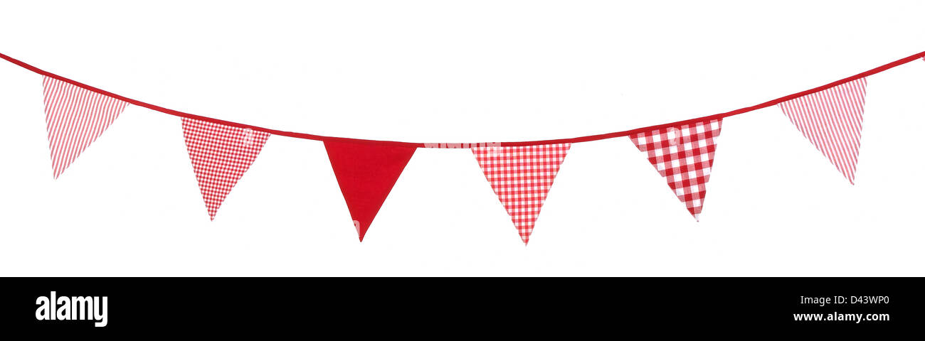 Row of different pattern red flags cut out white background - Stock Image