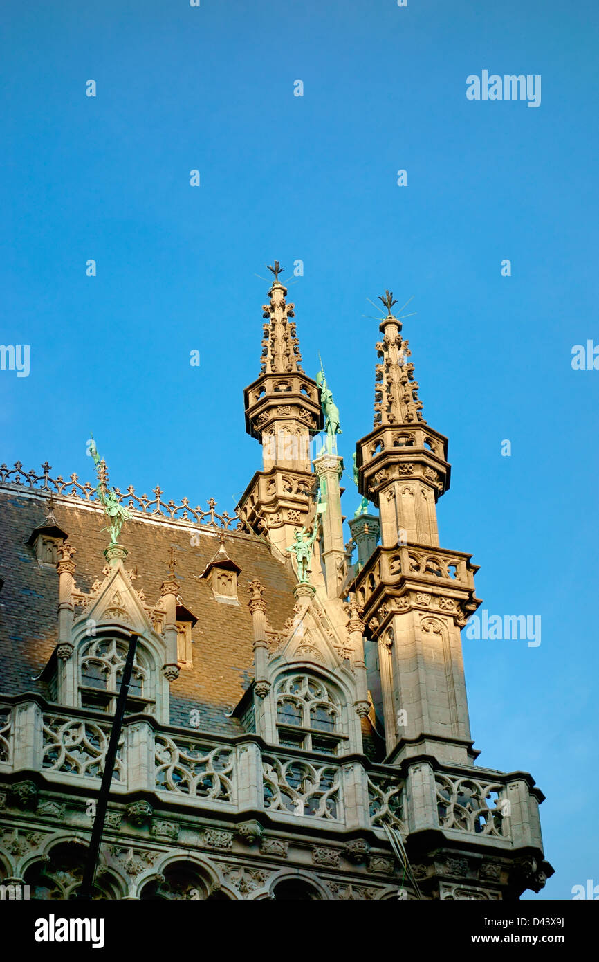 Two turrets on the roof of the Maison du Roi Grand place Brussels - Stock Image