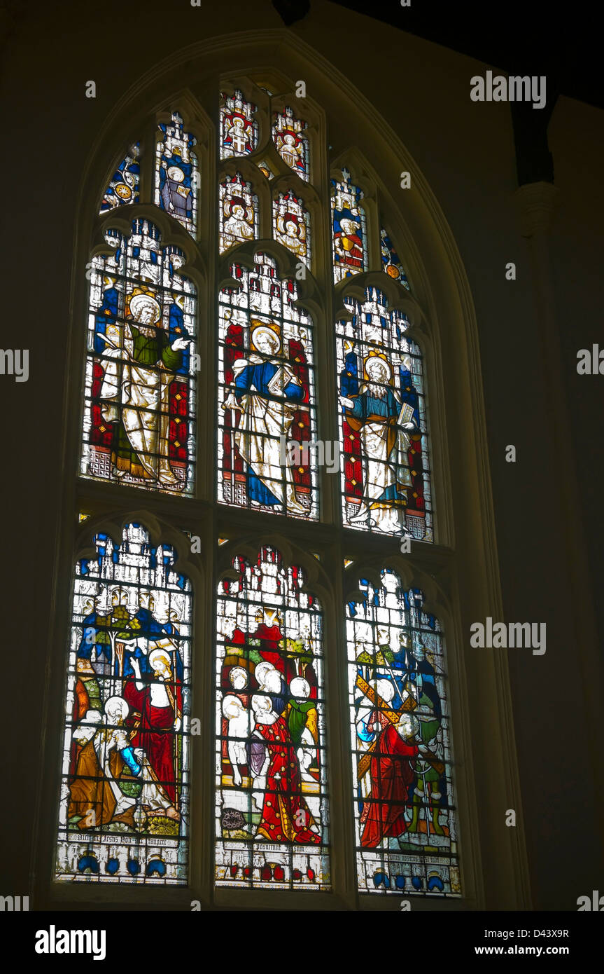 Stained glass windows in St. Edmundsbury Cathedral, Bury St. Edmunds, Suffolk, UK - Stock Image