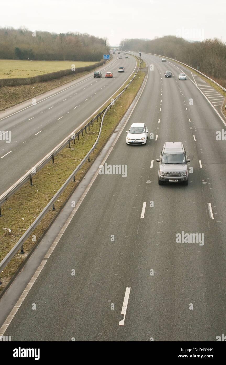 m6 motorway uk motorways network quite traffic three 3 lane lanes Stock Photo
