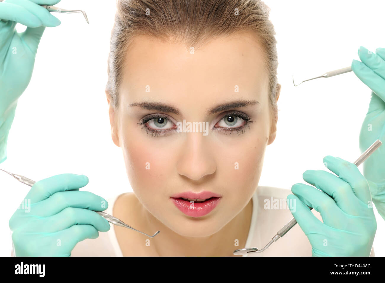 attractive, esthetic, blonde, face, girl, women, clean, skin, care, beauty, fresh, proesthetic, white, young - Stock Image