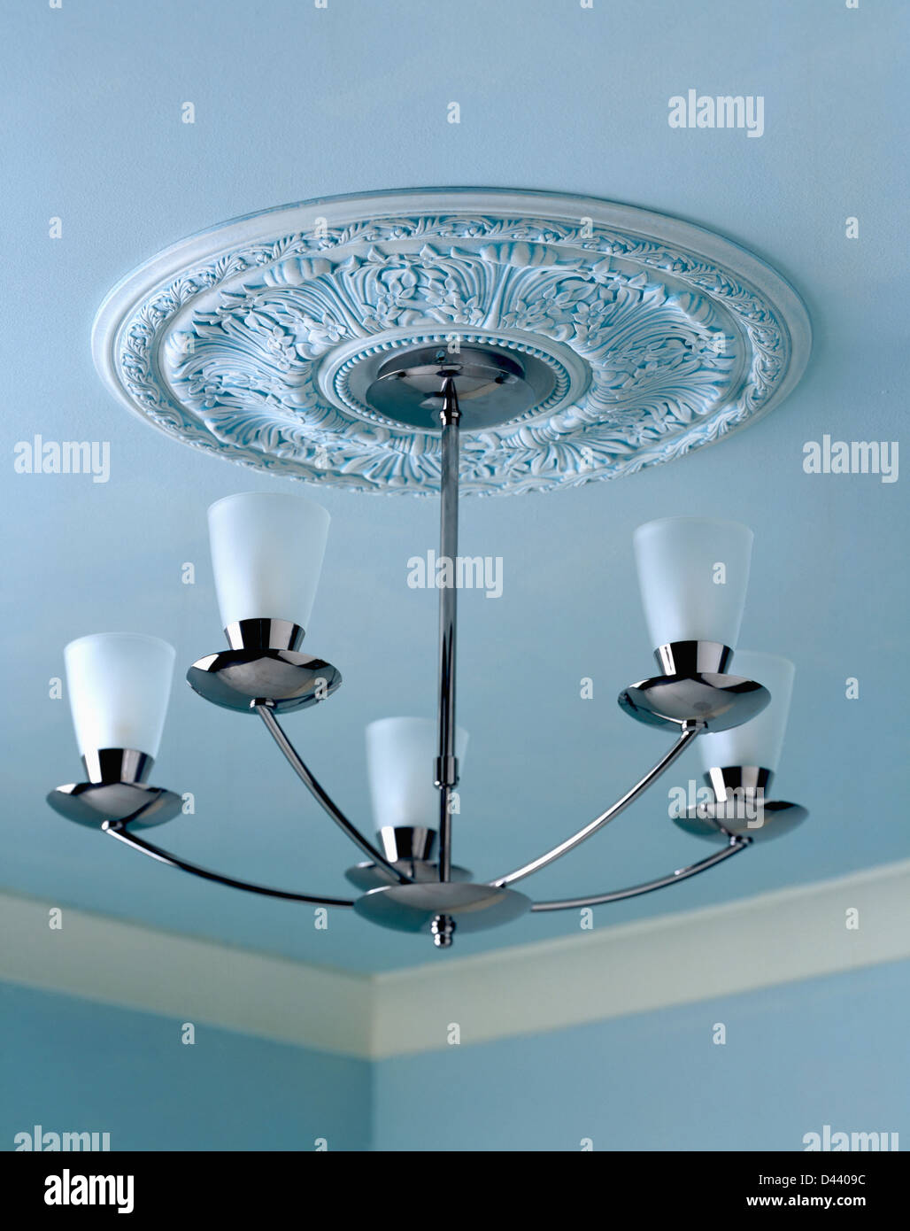 Plaster Ceiling Rose And Modern Chrome And Glass Light