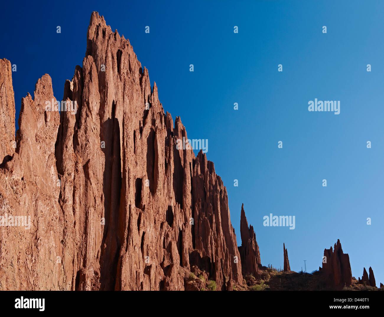 erosion landscape near Tupiza, Red rock formations in the Canon Del Inca, Tupiza Chichas Range, Bolivia, South America - Stock Image