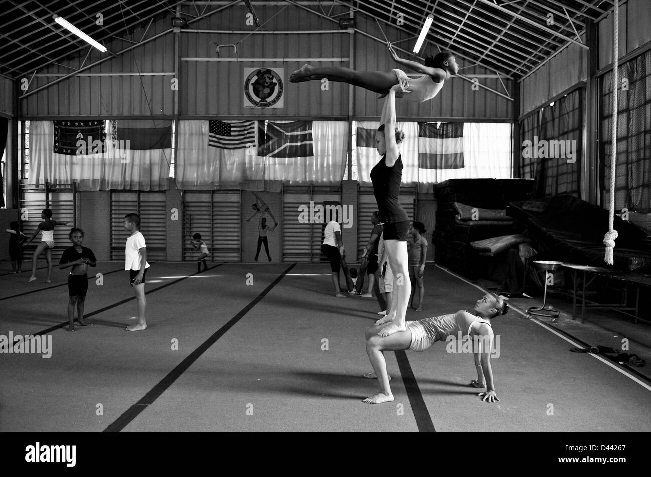 JOHANNESBURG, SOUTH AFRICA: Chandre Glade and Cladia Havenga at the Golden Lions Gymnastics club in Sophiatown on - Stock Image