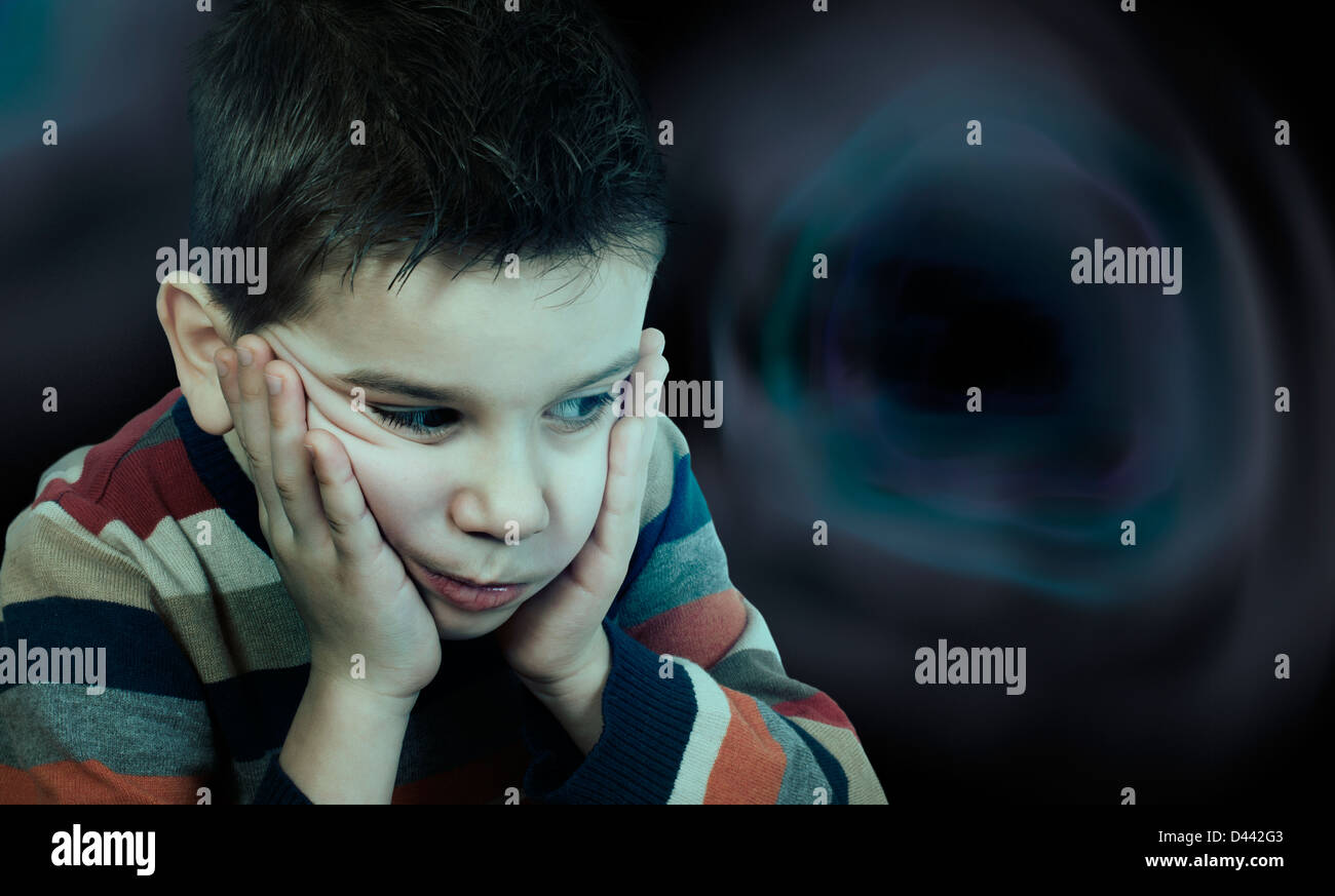 Sad child has problems. Black abstract shapes background deep - Stock Image
