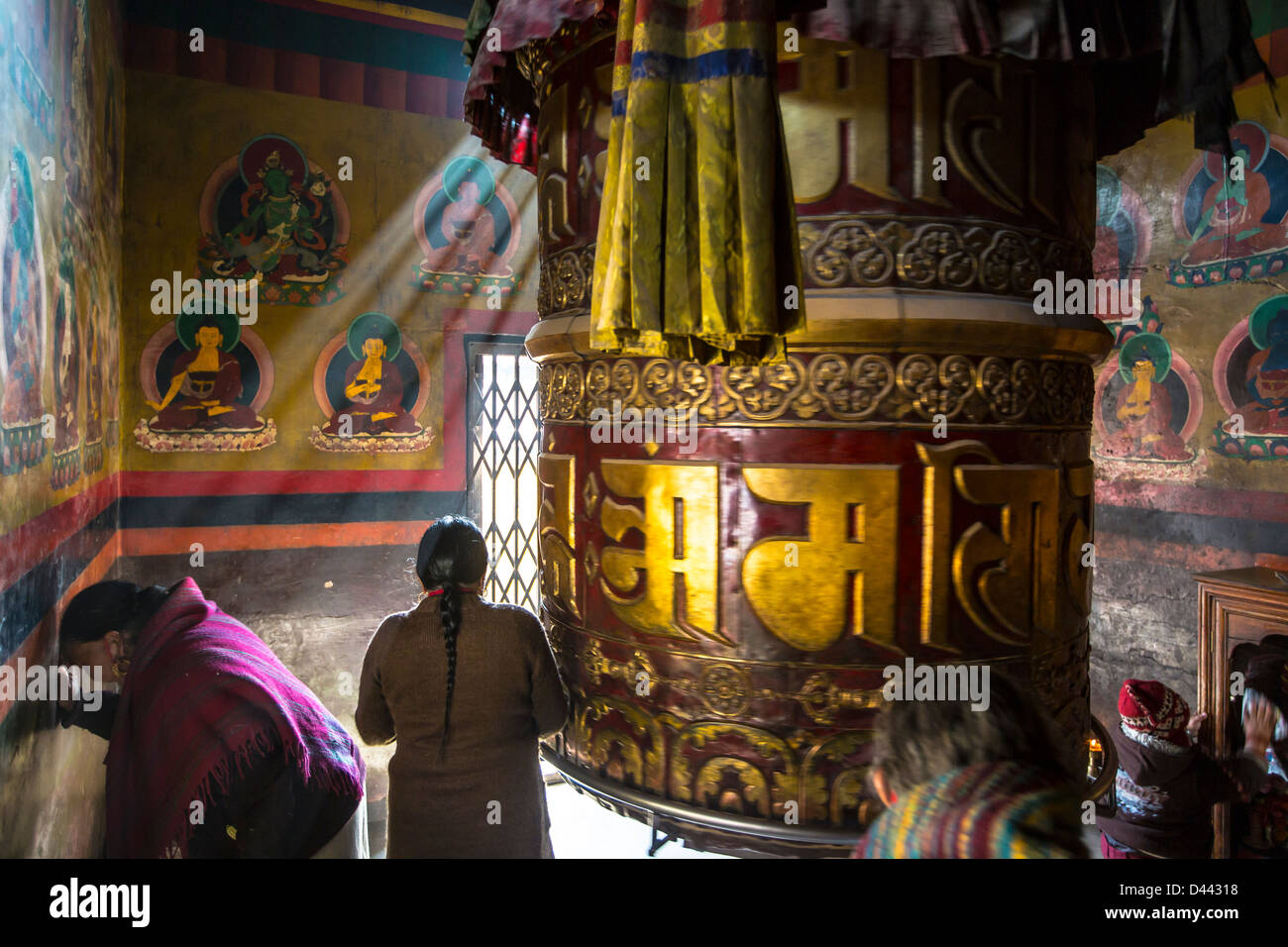 Prayer wheel at Bodhanath Stupa, Kathmandu, Nepal - Stock Image