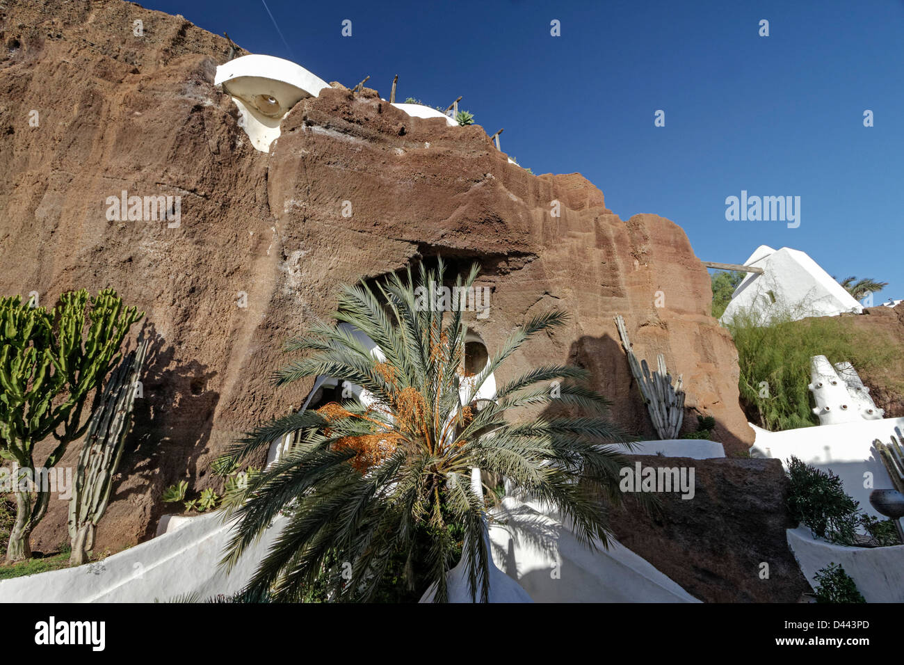 Casa Omar Sharif, LagOmar, Architect Cesar Manrique, Pool, Lanzarote, Canary Islands, Spain - Stock Image