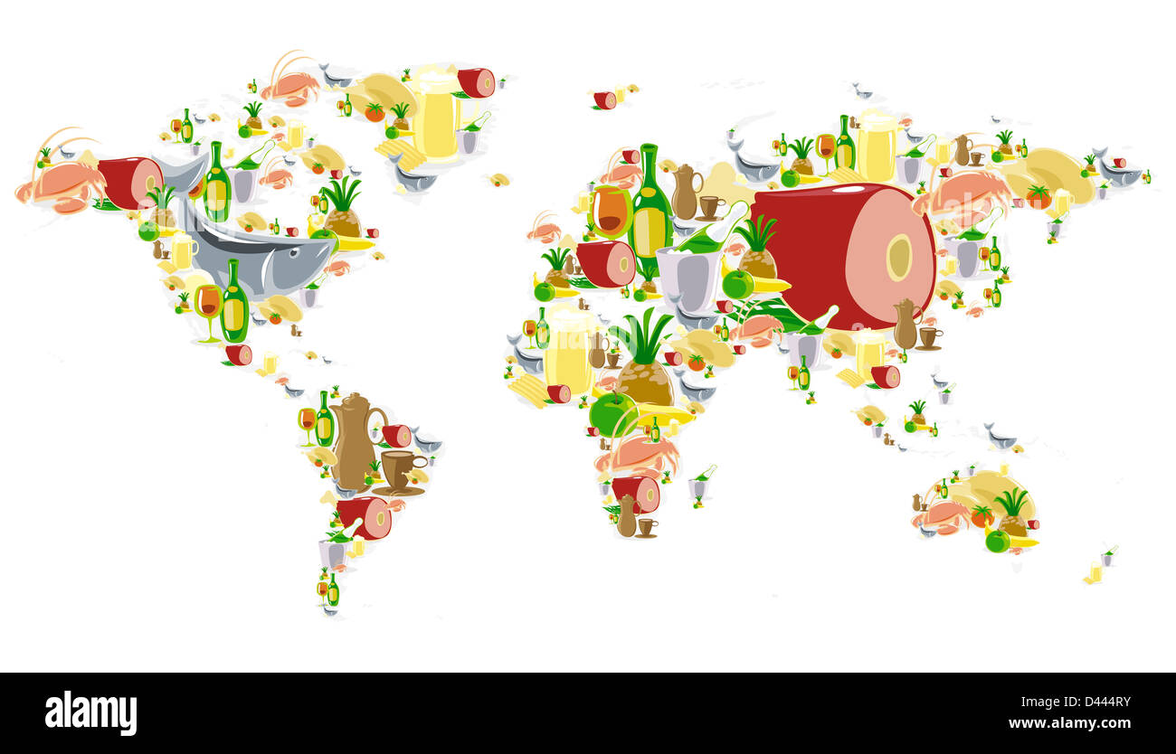 World map of food and drinks icons stock photo 54181343 alamy world map of food and drinks icons gumiabroncs Images