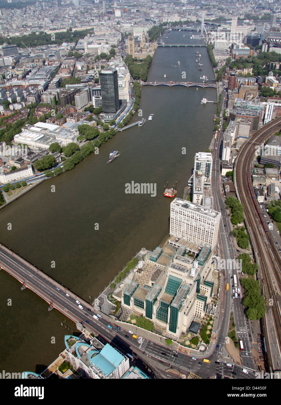aerial view of the MI6 building at Lambeth, London - Stock Image