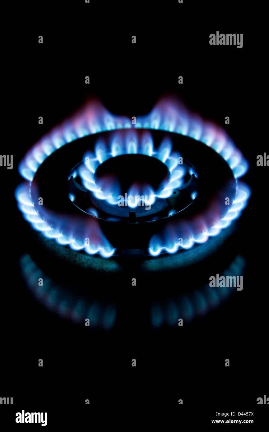 Gas flame on a cooker stovetop ring - Stock Image