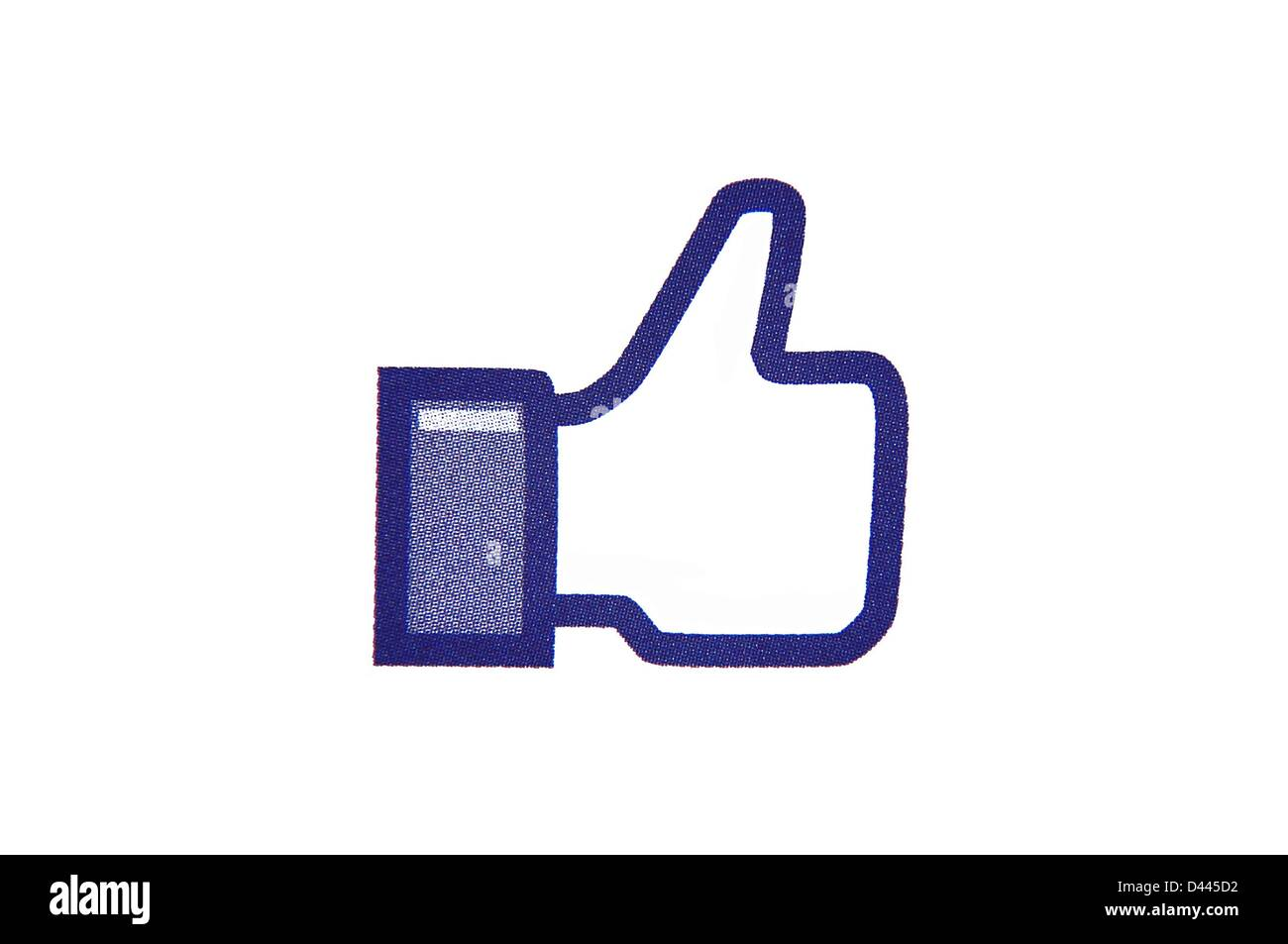Illustration - The 'Like' button of the social networking service Facebook on 8 July 2011. Source: Berliner - Stock Image