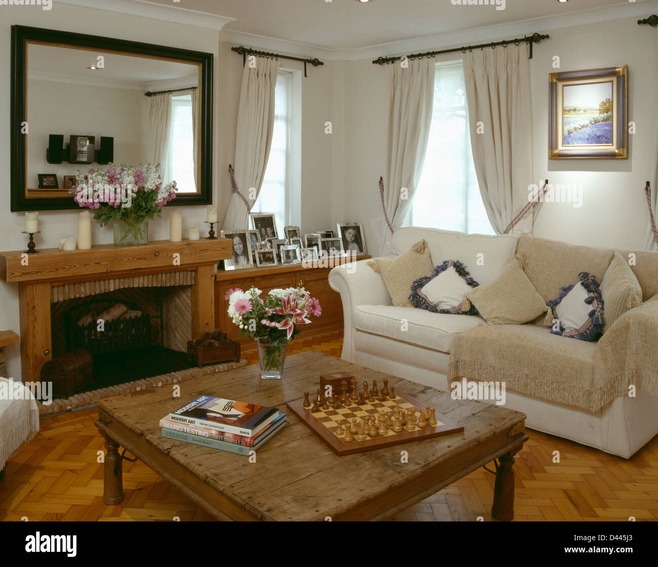 Indonesian Wood Coffee Table And Cream Sofa With Beige
