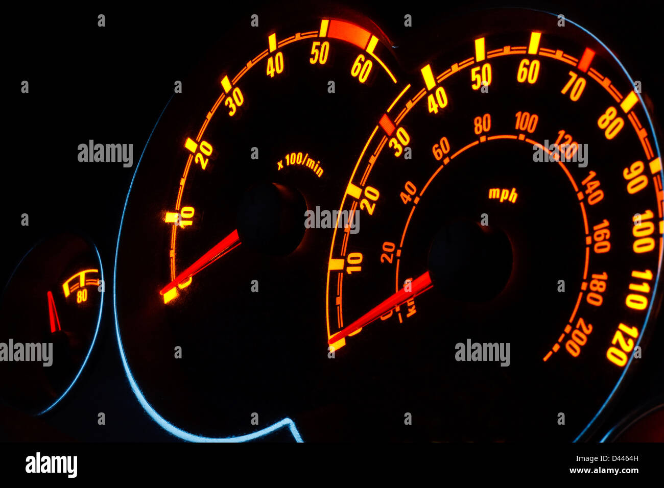 Back lit Speedometer and rev counter dashboard dials illuminated at night in automobile - Stock Image