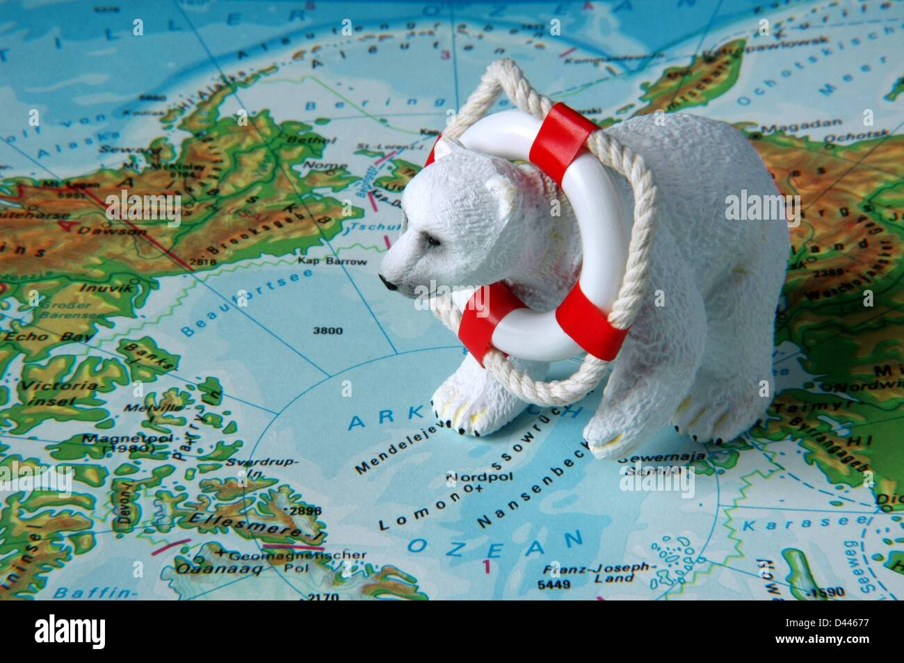 Illustration - A miniature polar bear is pictured with a miniature safety buoy around his neck sitting near the north pole on a map in Berlin, Germany, 22 December 2007. Photo: Berliner Verlag/S.Steinach Stock Photo