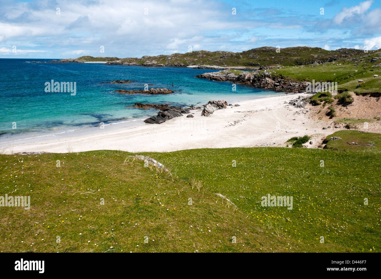 Camas Bostadh bay and beach on Great Bernera in the Outer Hebrides. - Stock Image