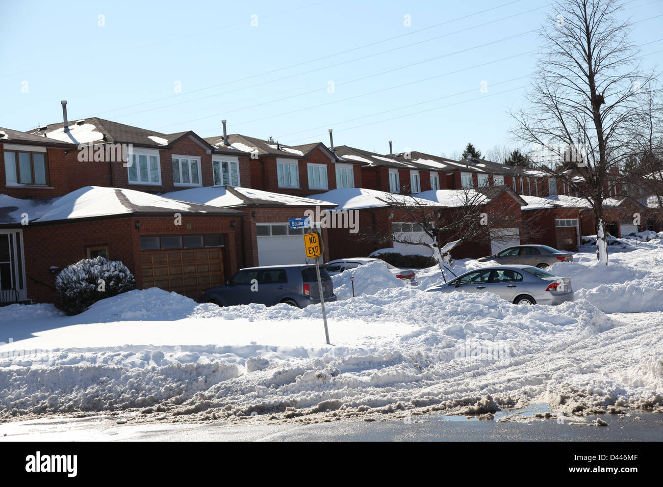 snow covered residential area - Stock Image