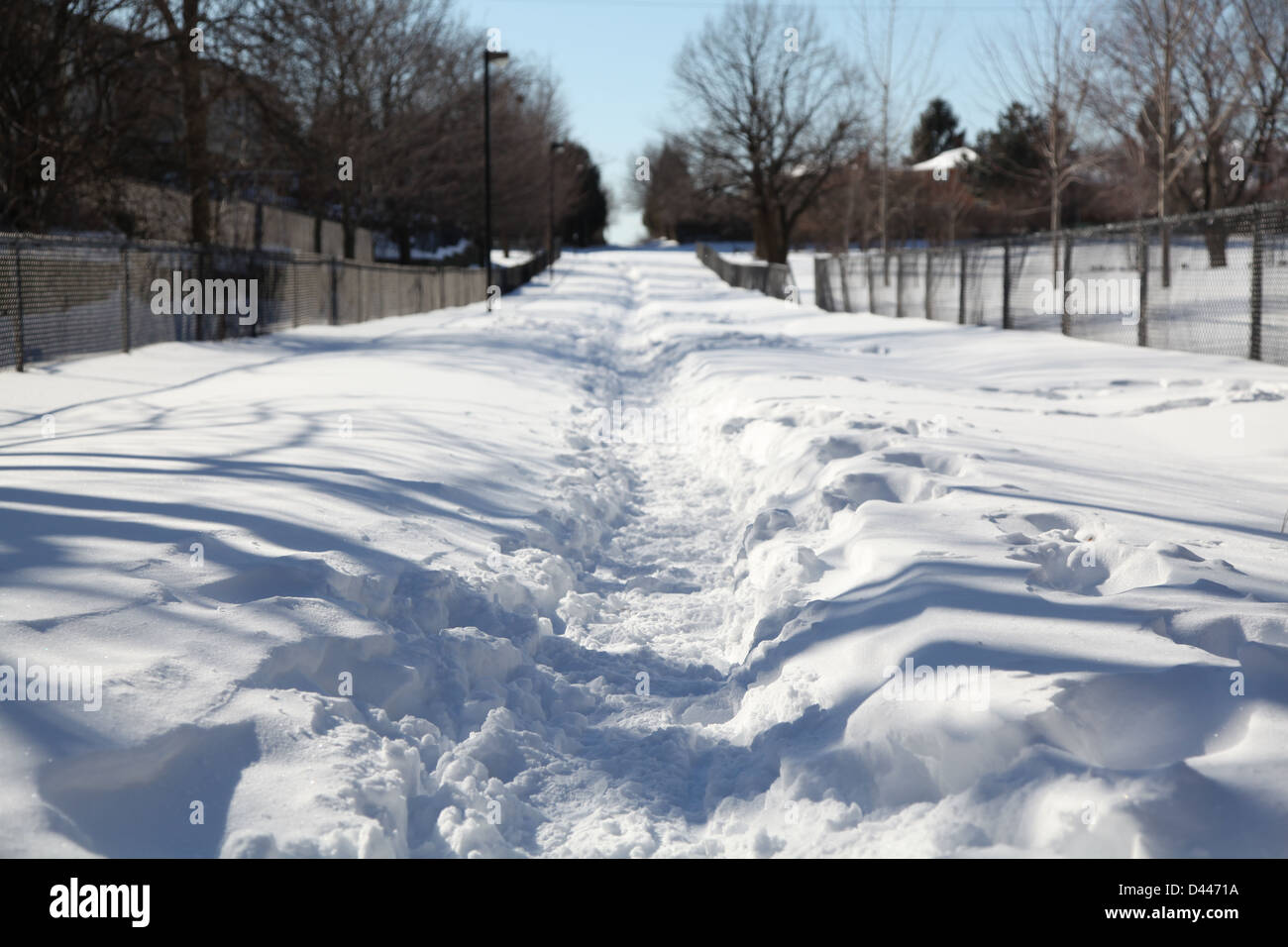 winter snow covered ground residential area - Stock Image