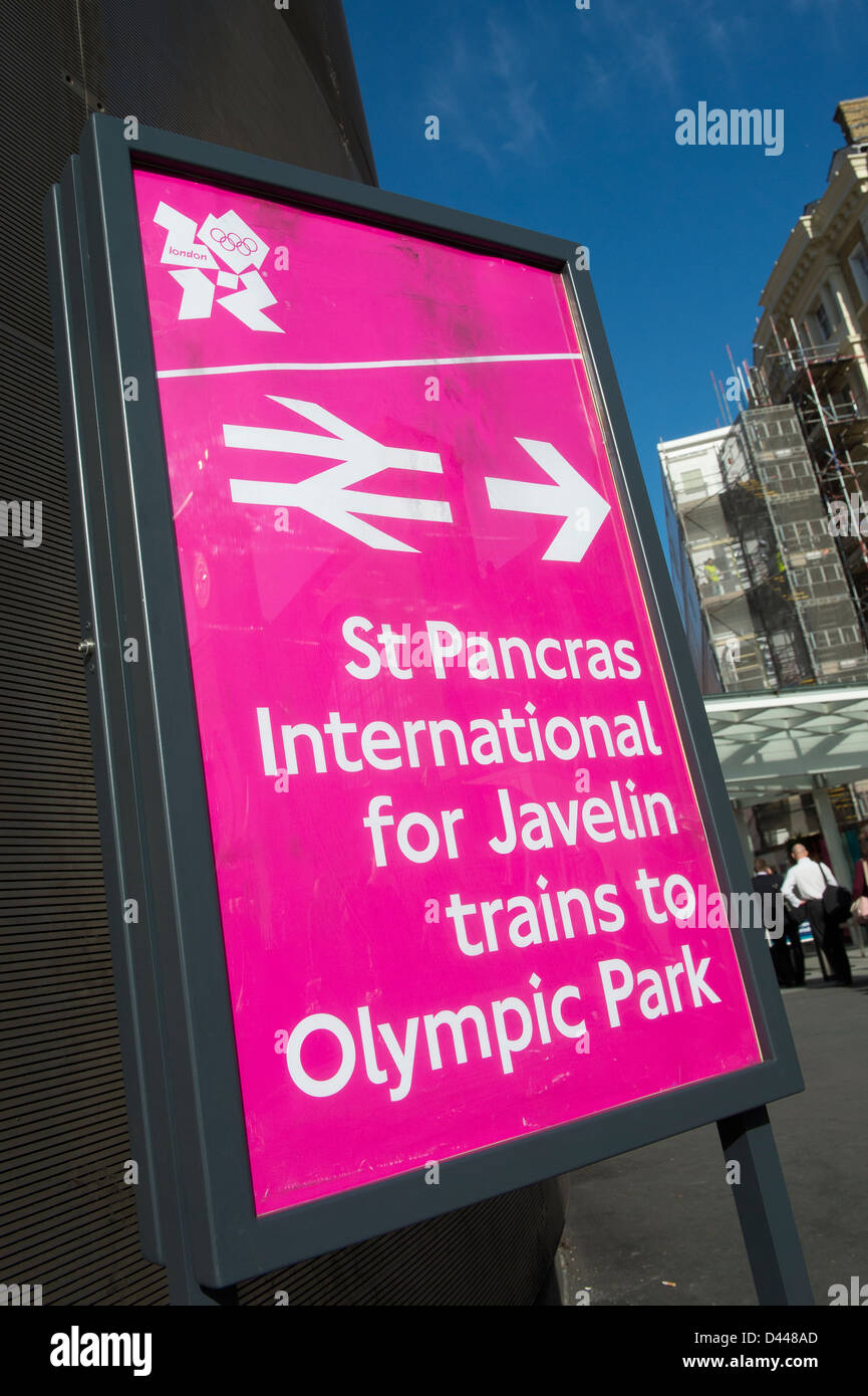 Sign outside St Pancras International railway station during the London 2012 olympic games, England. - Stock Image