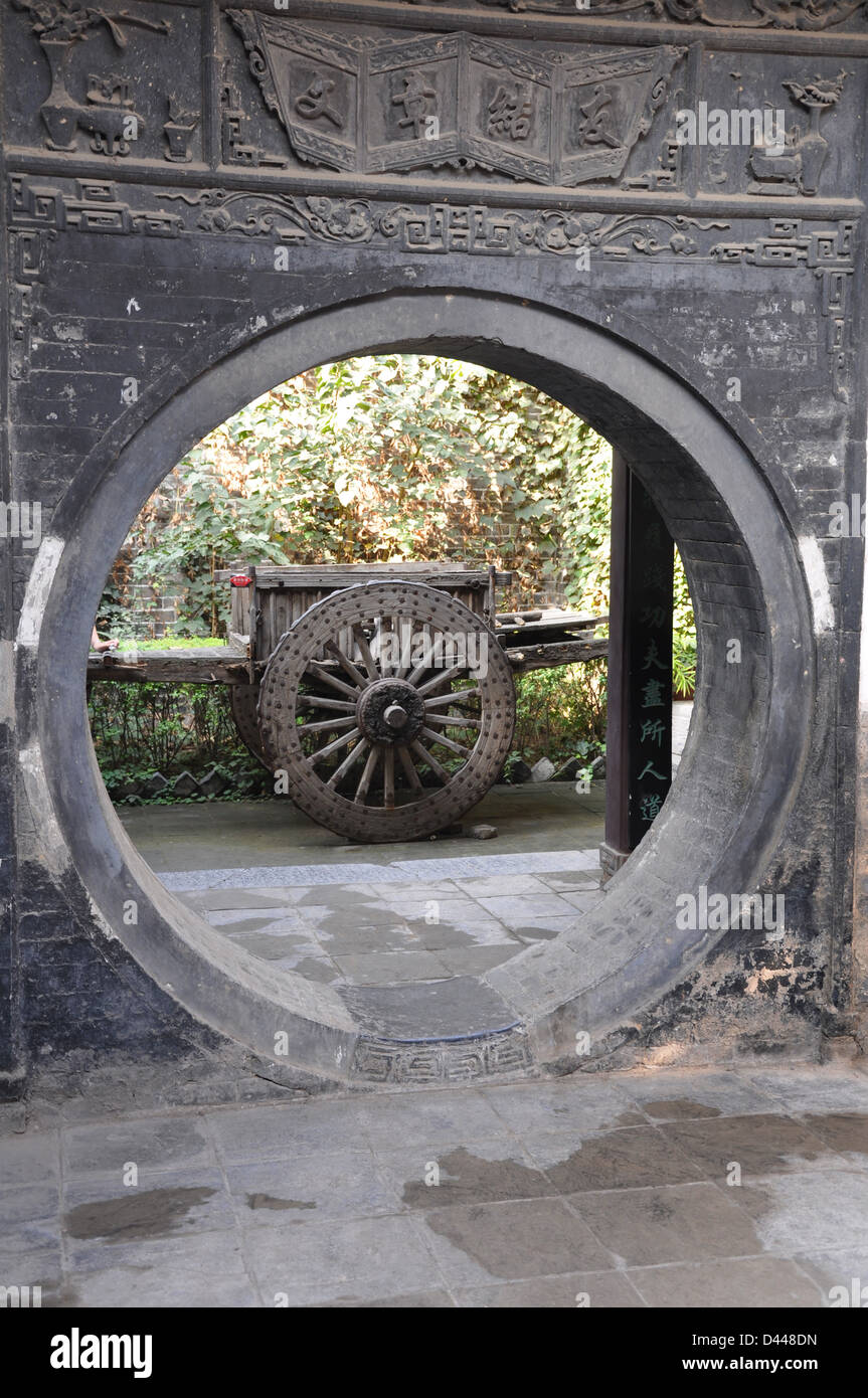 Round door in the garden a traditional old chinese house in Xiu0027an - Shaanxi & Chinese Round Door Stock Photos u0026 Chinese Round Door Stock Images ...