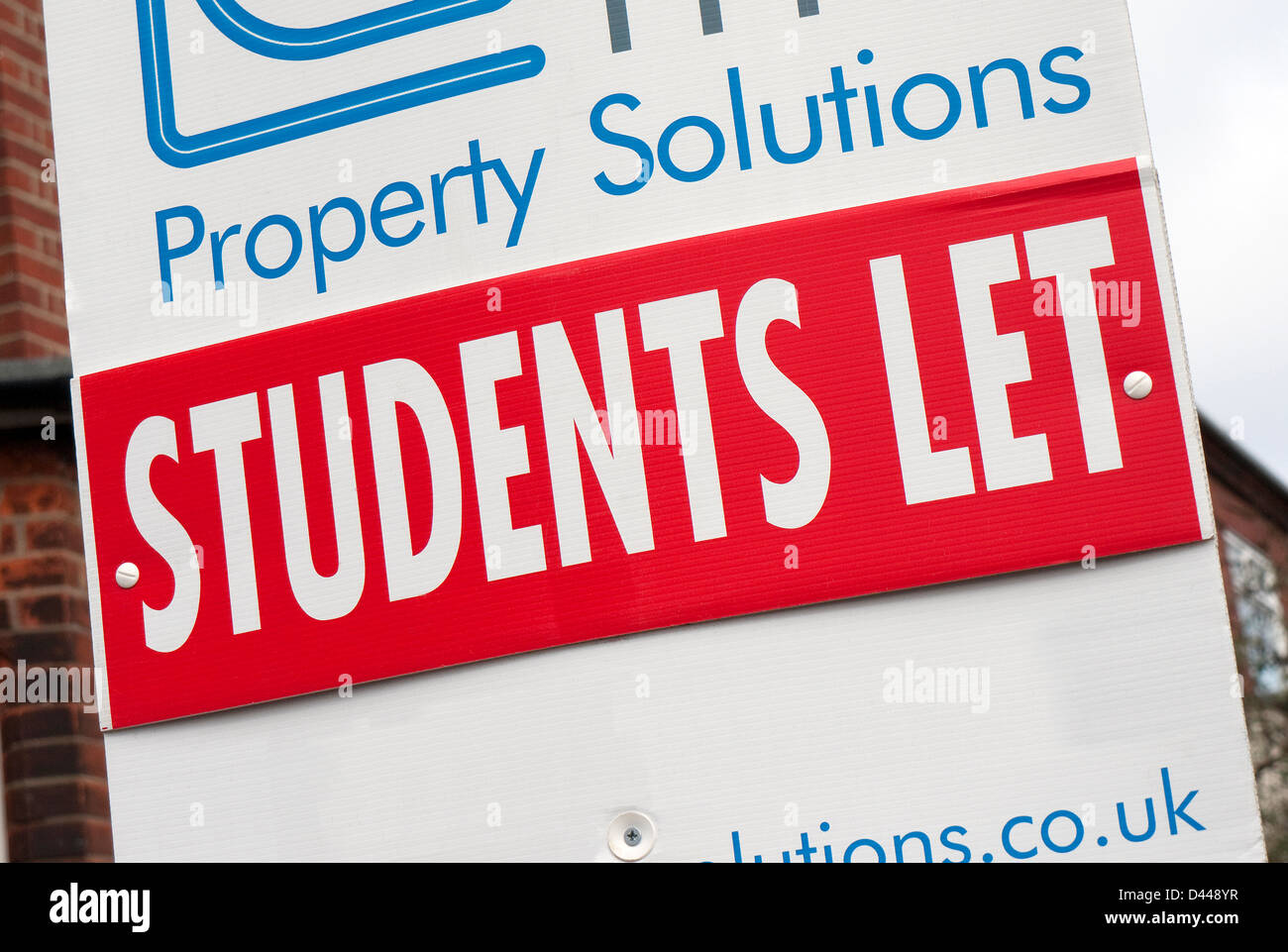 students let sign outside rented house - Stock Image