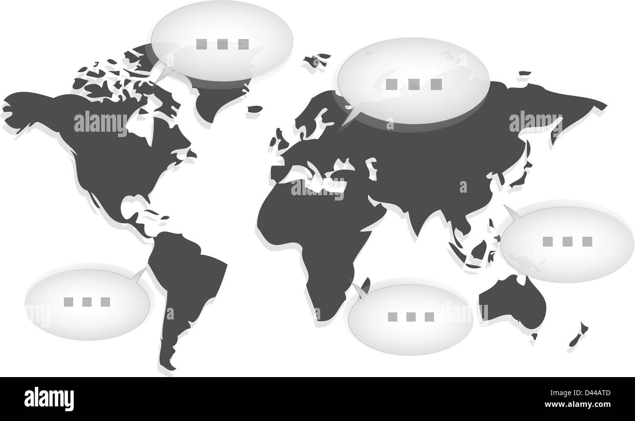 World map with several balloons communicating Stock Photo