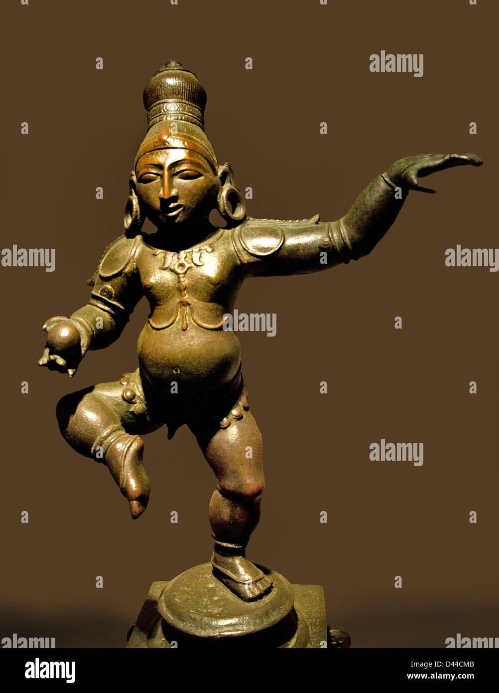 Balakrishna Dancing with butter ball 15 cent Krishna bronze Bellary Karnataka India Hindu - Stock Image