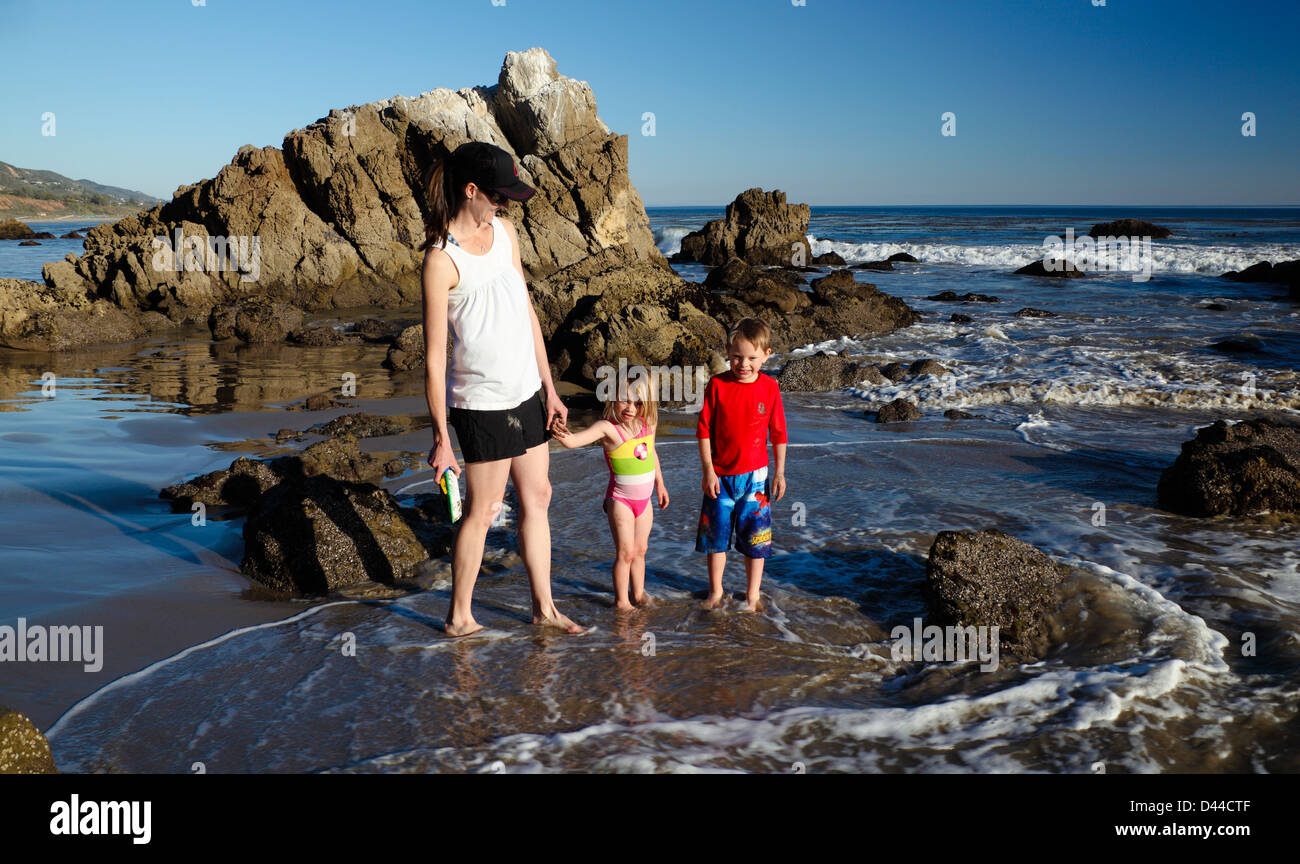 Family at Leo Carillo State Beach in Southern California - Stock Image