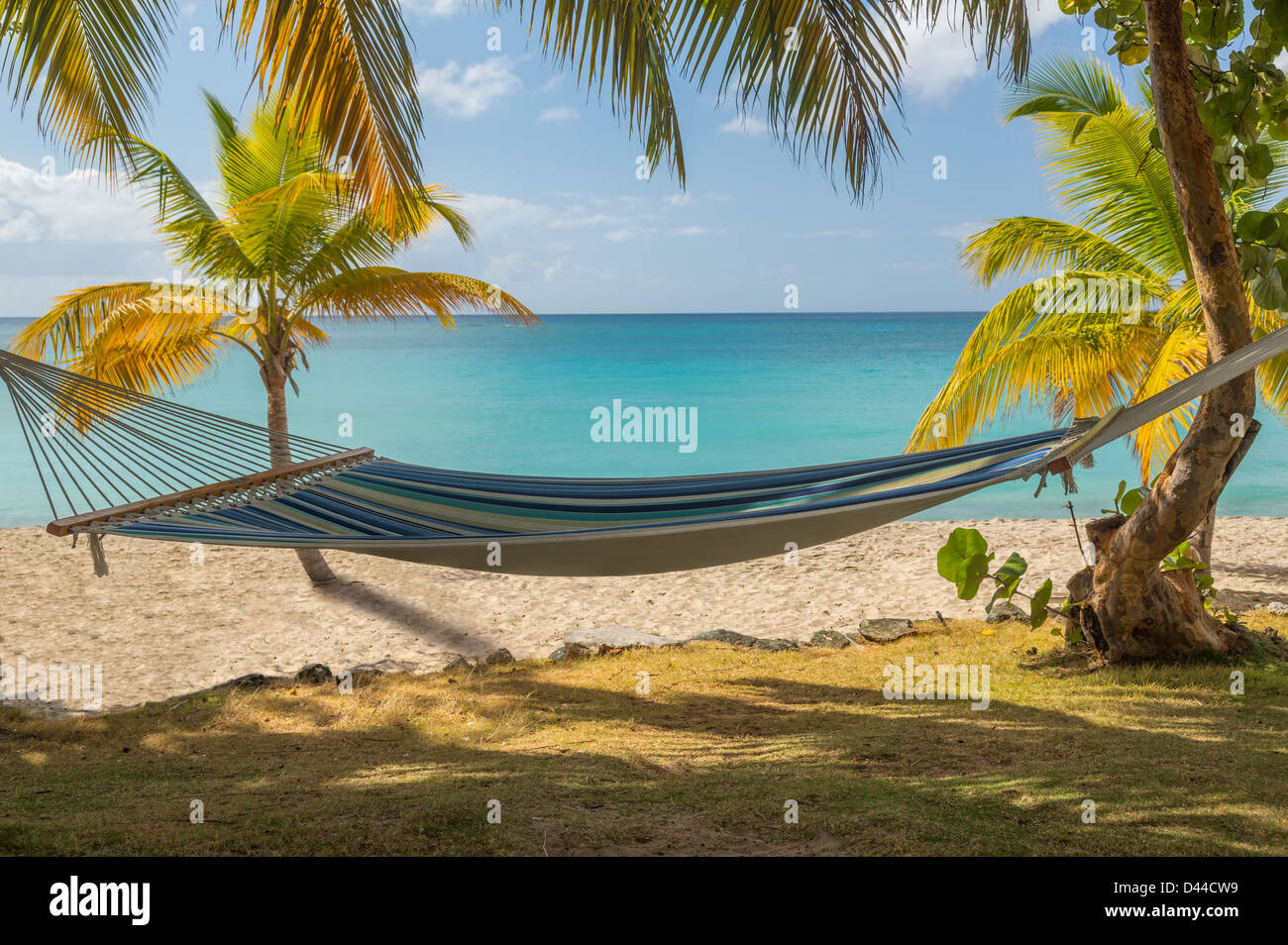 Hammock on a beach in the Caribbean, St Thomas, US Virgin Islands - Stock Image