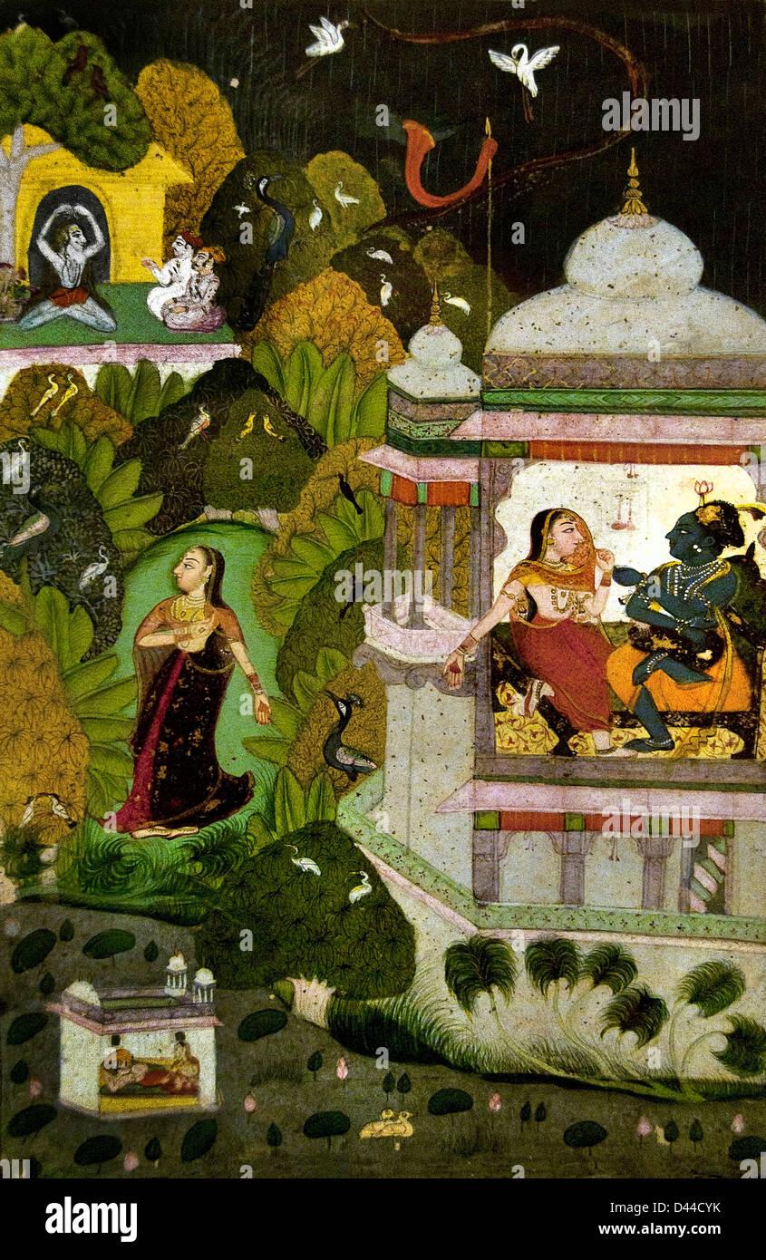 Month of Asadh ( june - July ) 1770 Bundi Kota Rajasthan Rajasthani   India - Stock Image
