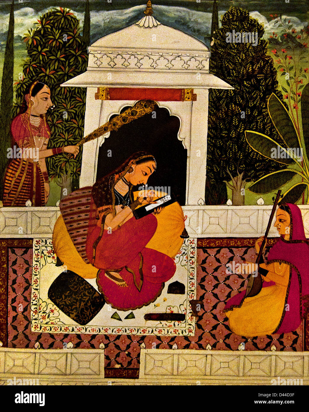 Radha writing a Letter 1700 AD Rajasthani Rajasthan India Stock Photo