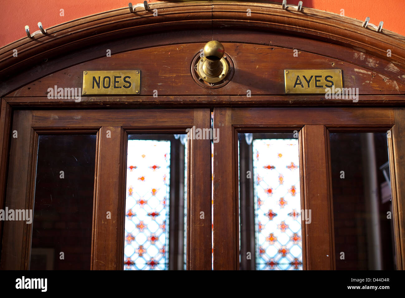 Doors marking \u0027Ayes\u0027 and \u0027Noes\u0027 where the audience vote at The Oxford Union Society formal Debating Chamber Frewin Court Oxford & Doors marking \u0027Ayes\u0027 and \u0027Noes\u0027 where the audience vote at The ...