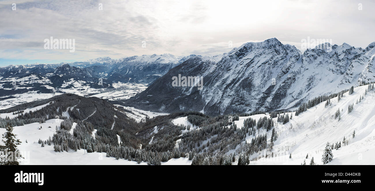 Panorama in Bavarian Alps, Berchtesgadener Land, Germany - Stock Image