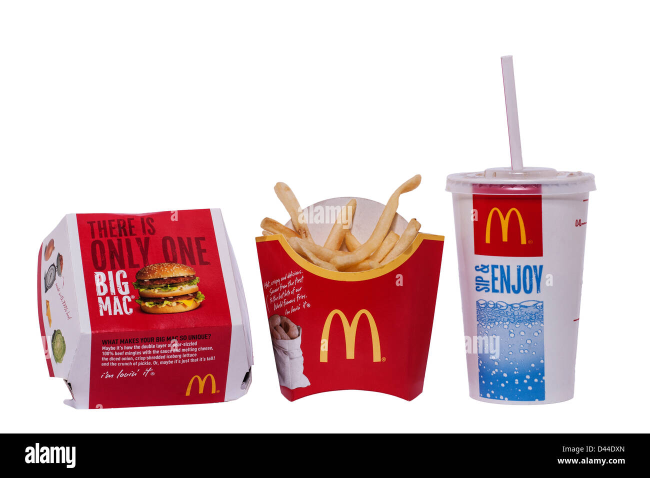 A Mcdonalds Big Mac meal with burger , fries and drink on a white background - Stock Image