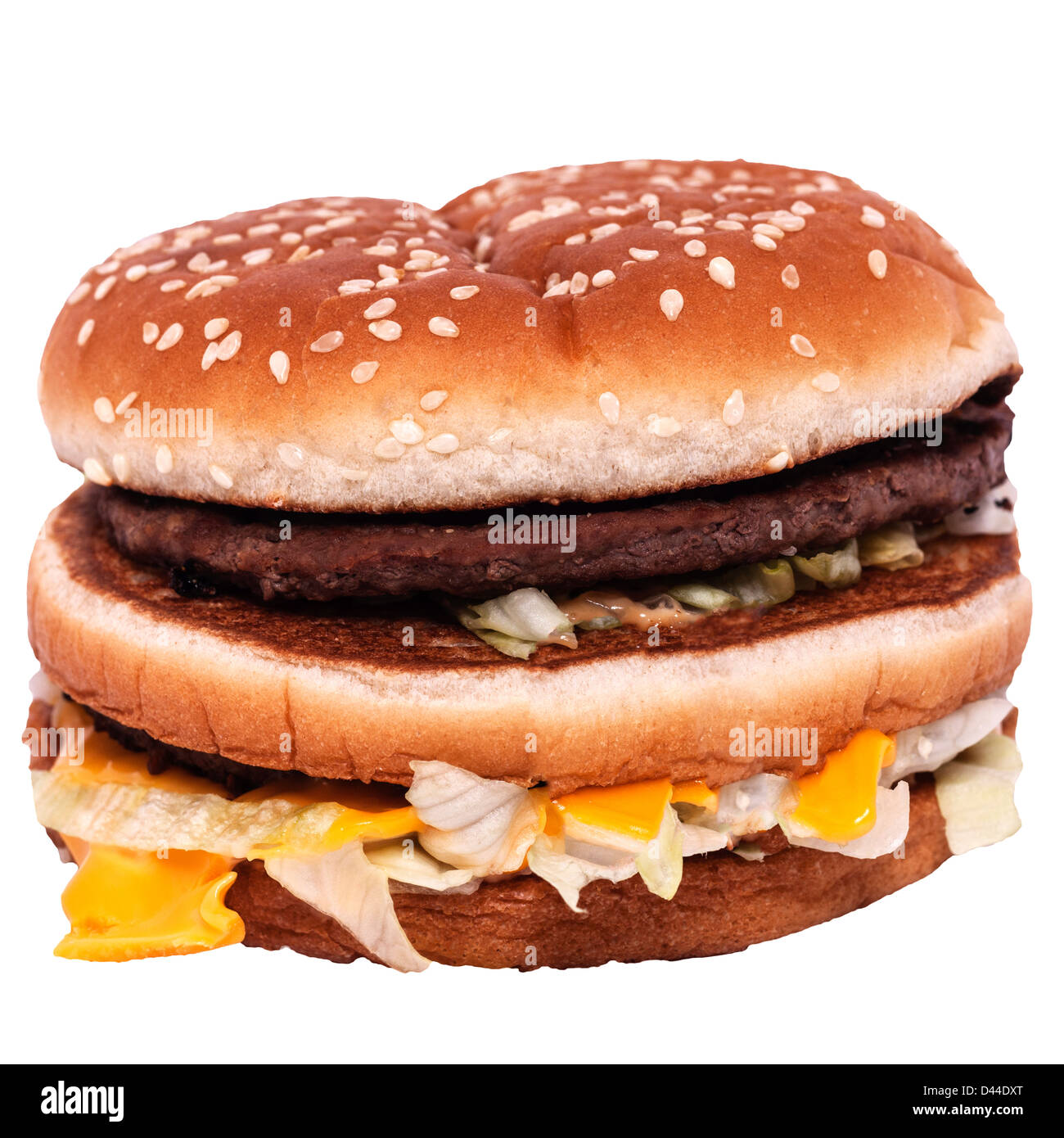 A Mcdonalds Big Mac burger on a white background - Stock Image