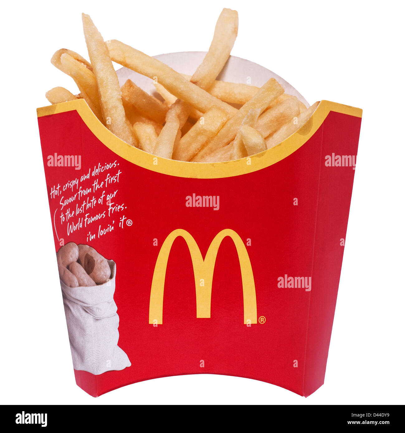 A portion of Mcdonalds fries on a white background - Stock Image