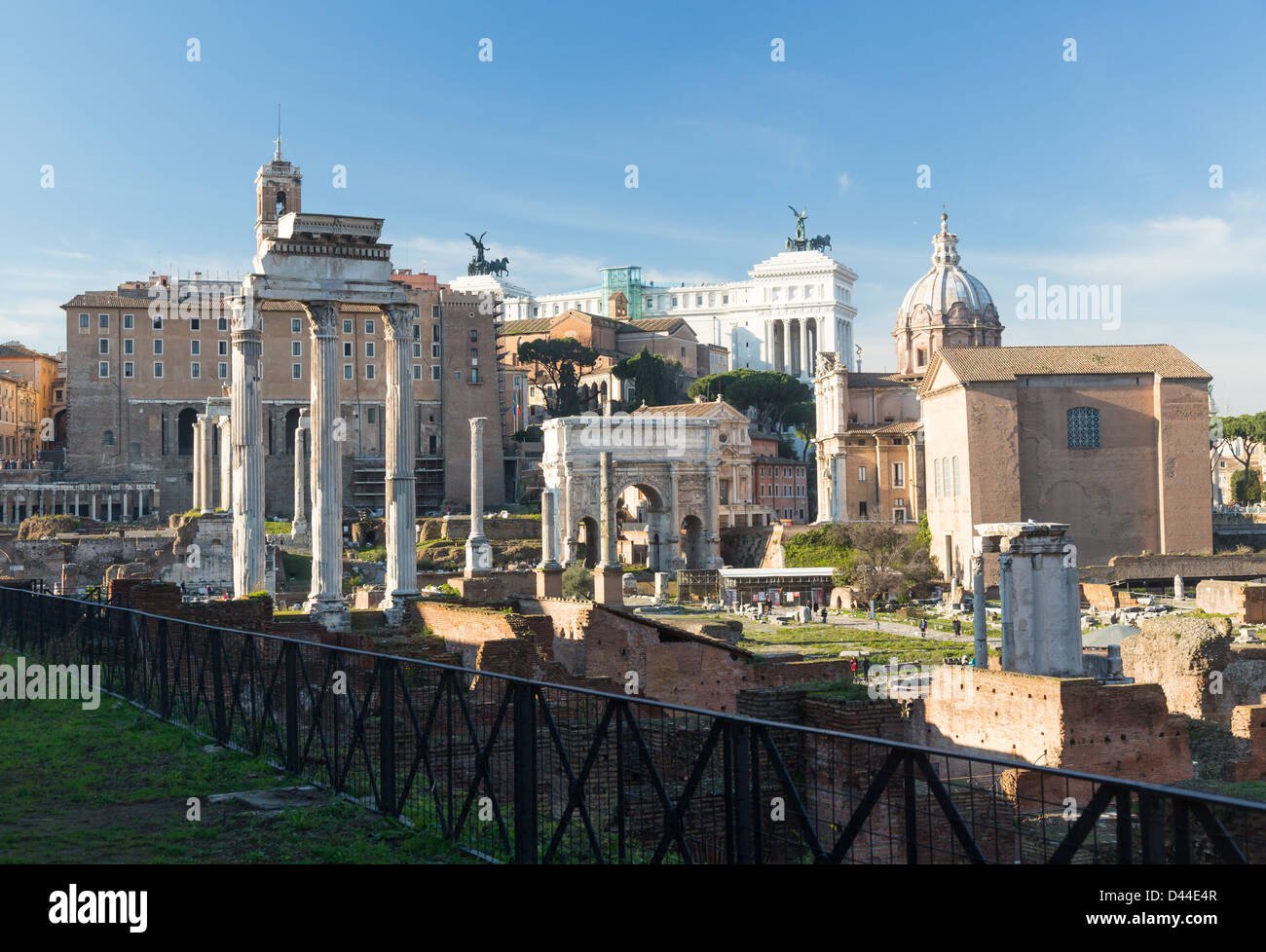 Temple of Castor and Pollux in the Forum, Rome - Stock Image