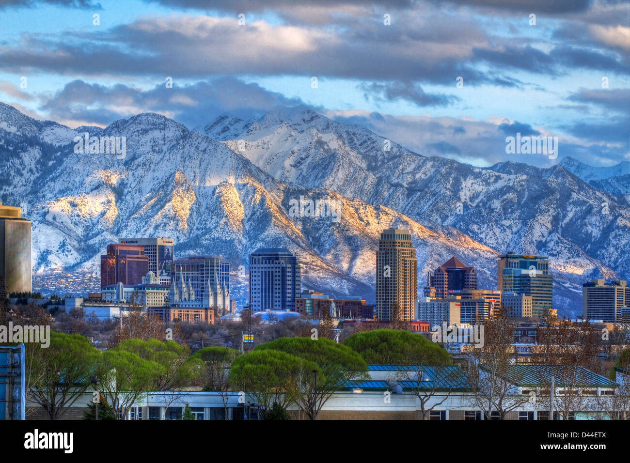 Panoramic View Of The Downtown Salt Lake City Skyline In