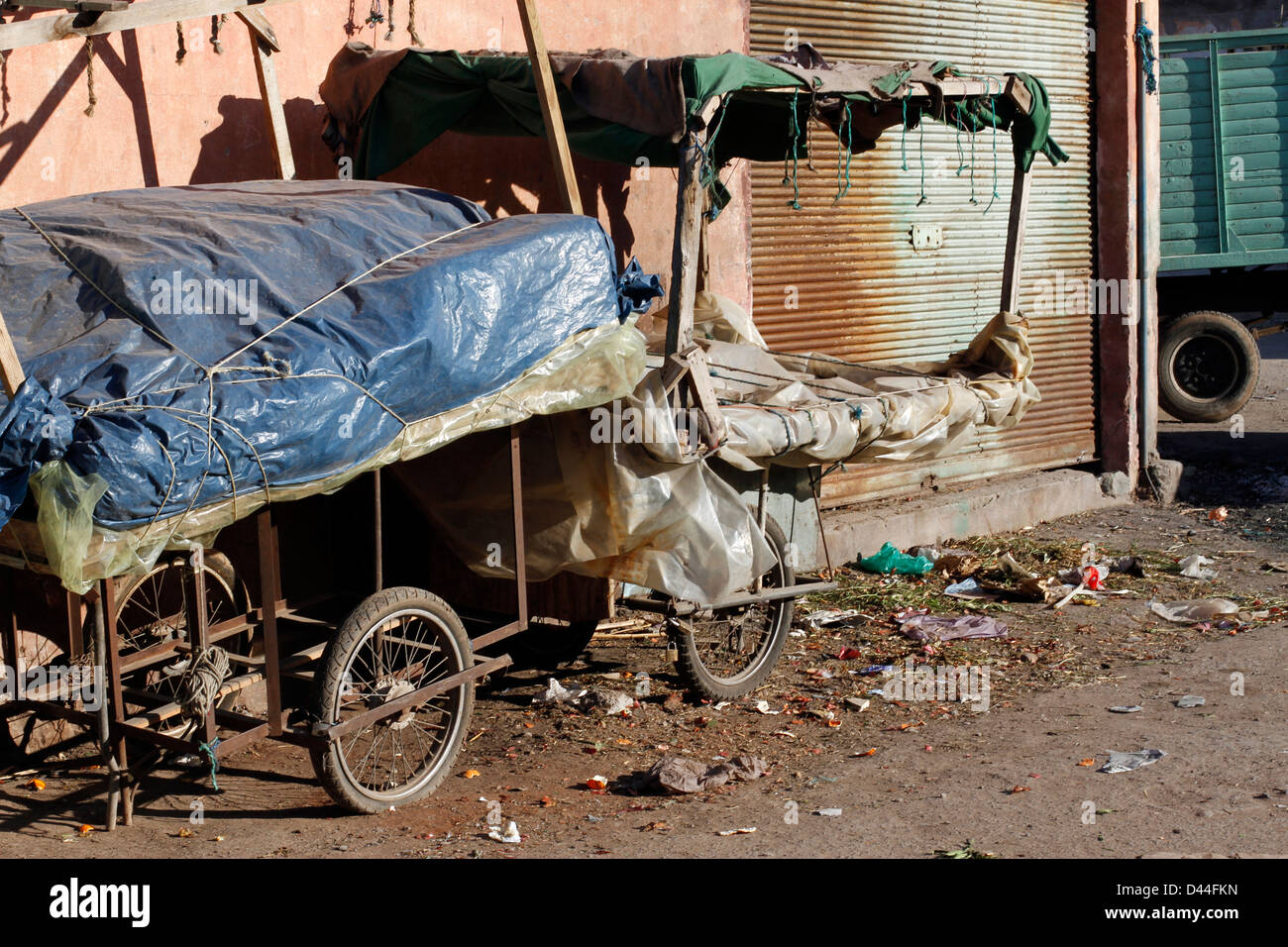 Empty Donkey Cart in Marrakesh, - Stock Image