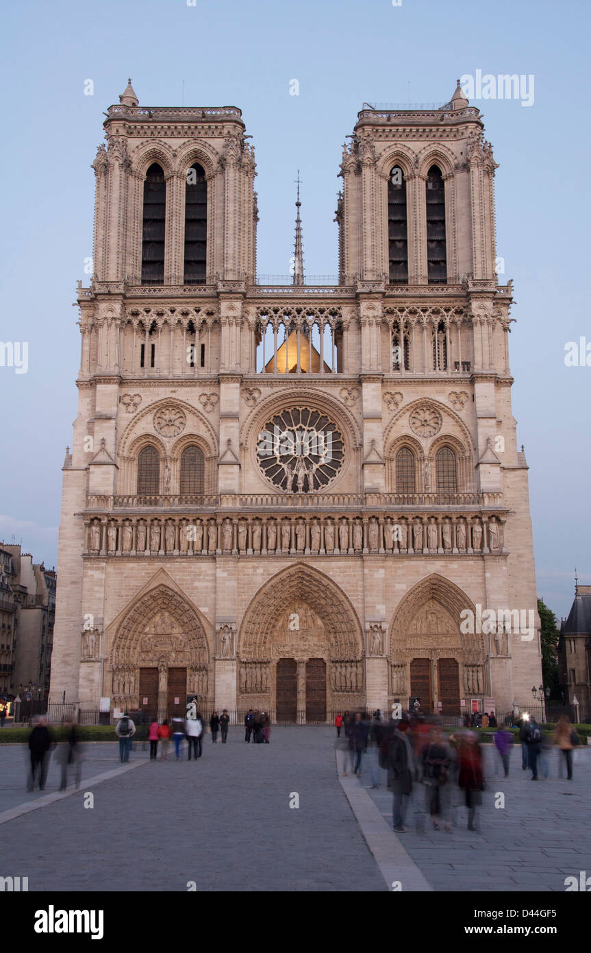 Historic medieval French architecture. The famous West Front of Notre Dame Cathedral. A great Gothic masterpiece Stock Photo
