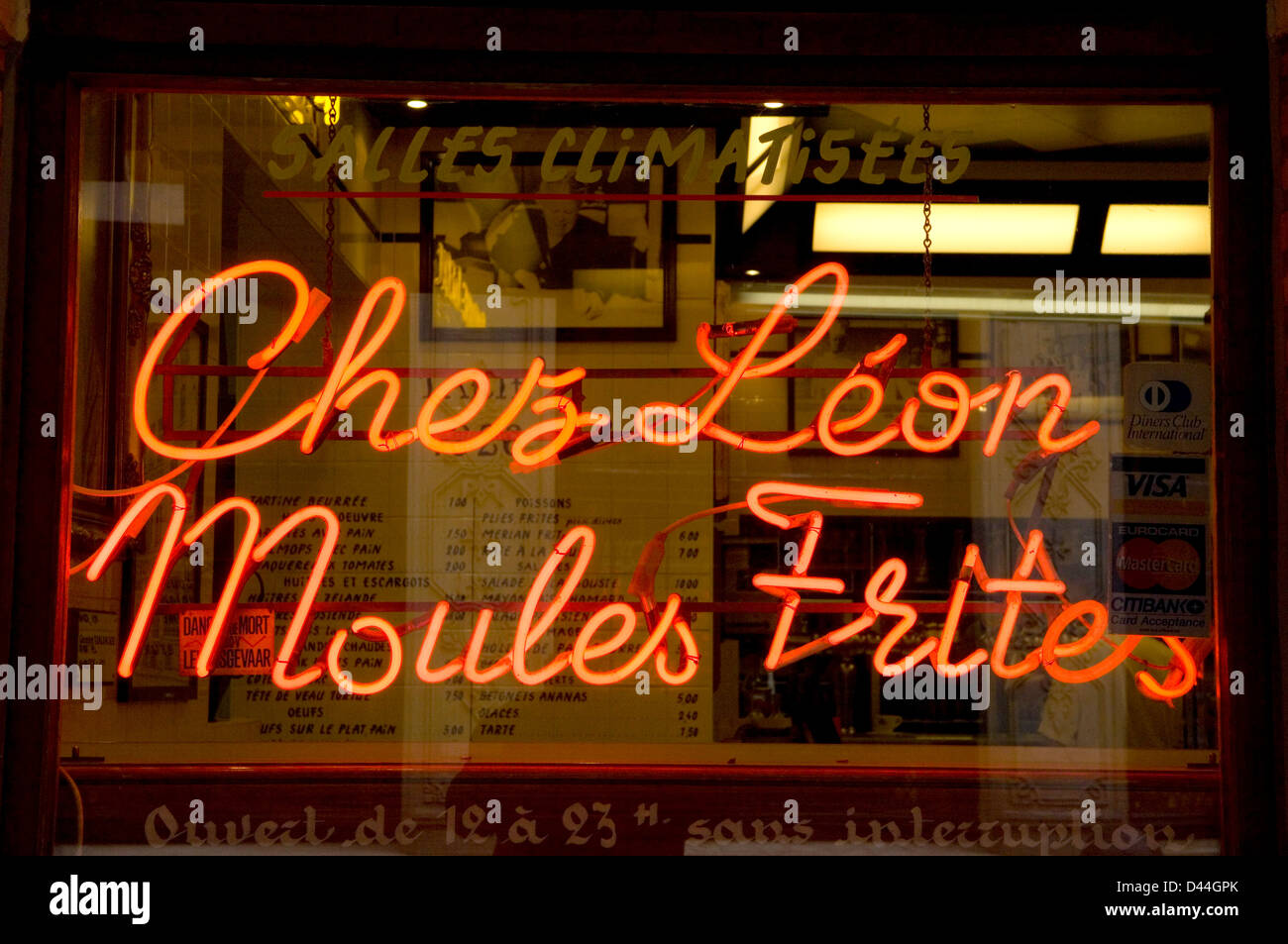 Neon sign for Chez Leon Moules Frites restaurant in Brussels, Belgium - Stock Image
