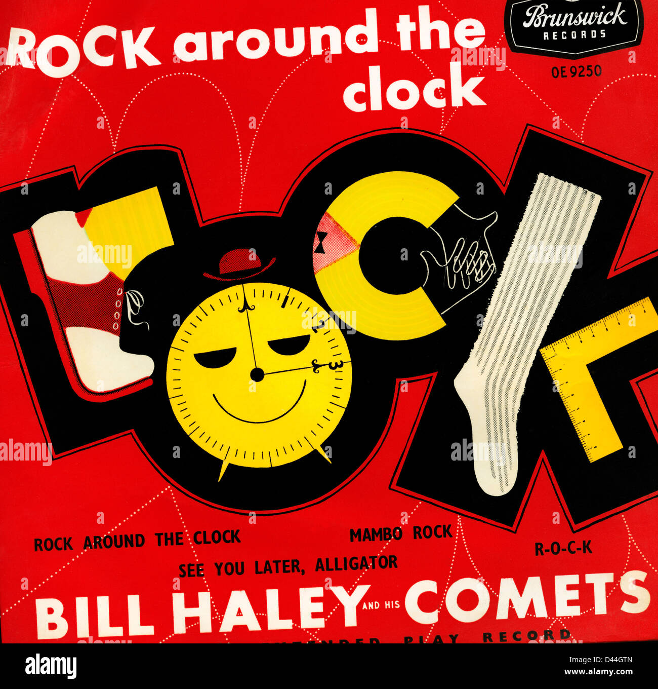 """Rock Around the Clock"" 45 rpm Album cover for number one hit 1954 rock and roll song recorded by Bill Haley and Stock Photo"