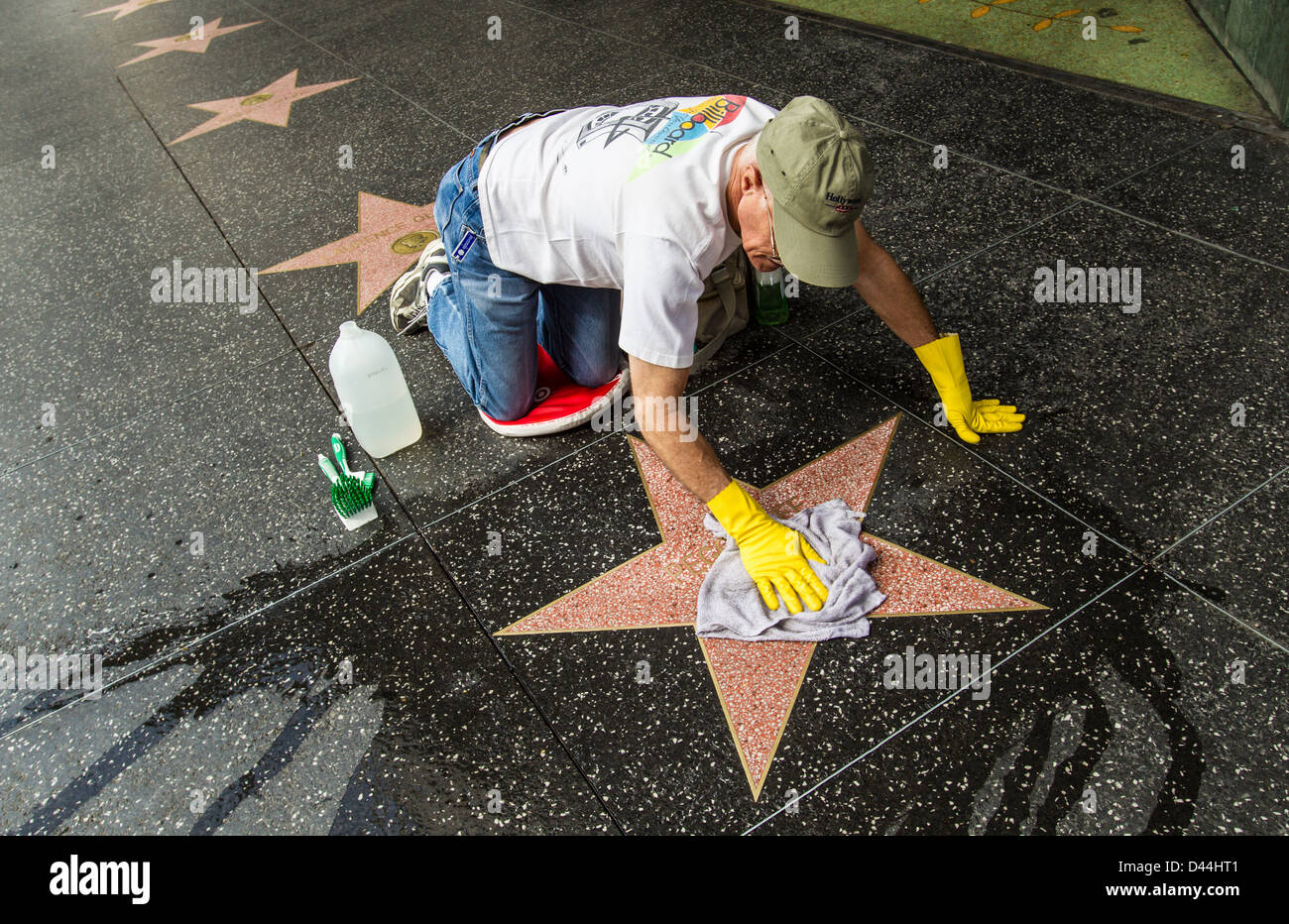 Washing the stars on the Hollywood Walk Of Fame - Stock Image