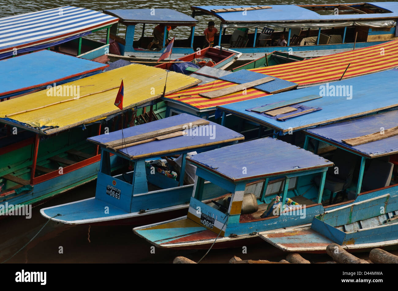 various ships in the harbor, nong kiew, laos - Stock Image