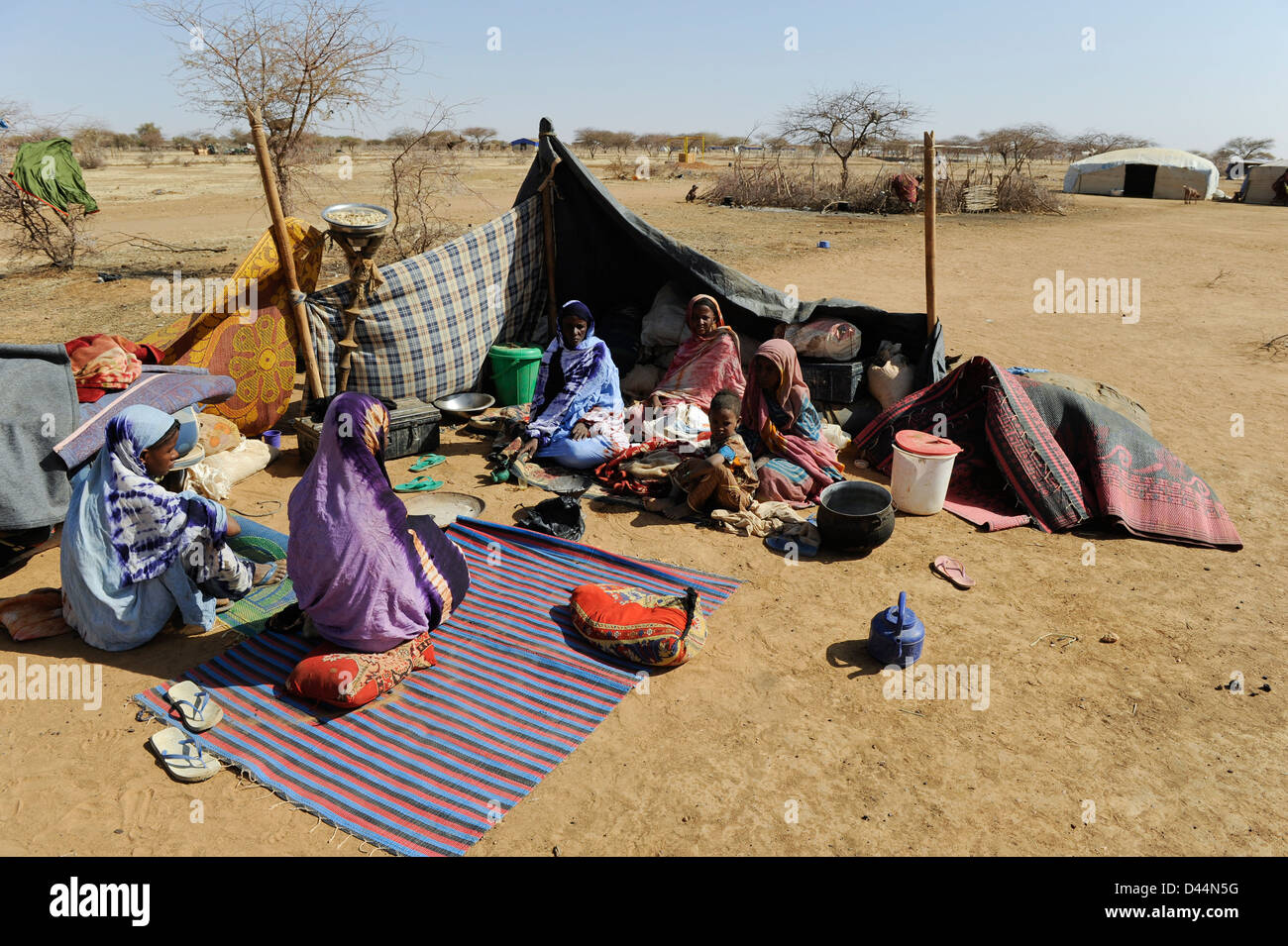 BURKINA FASO Djibo, malian refugees, mostly Touareg, in refugee camp Mentao of UNHCR, they fled due to war and islamist - Stock Image