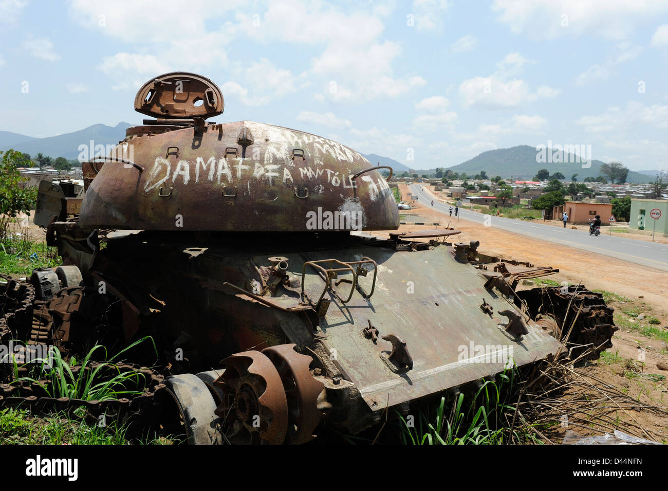Africa ANGOLA old soviet tank from civil war between MPLA and UNITA in Quibala, some areas have still land mines - Stock Image