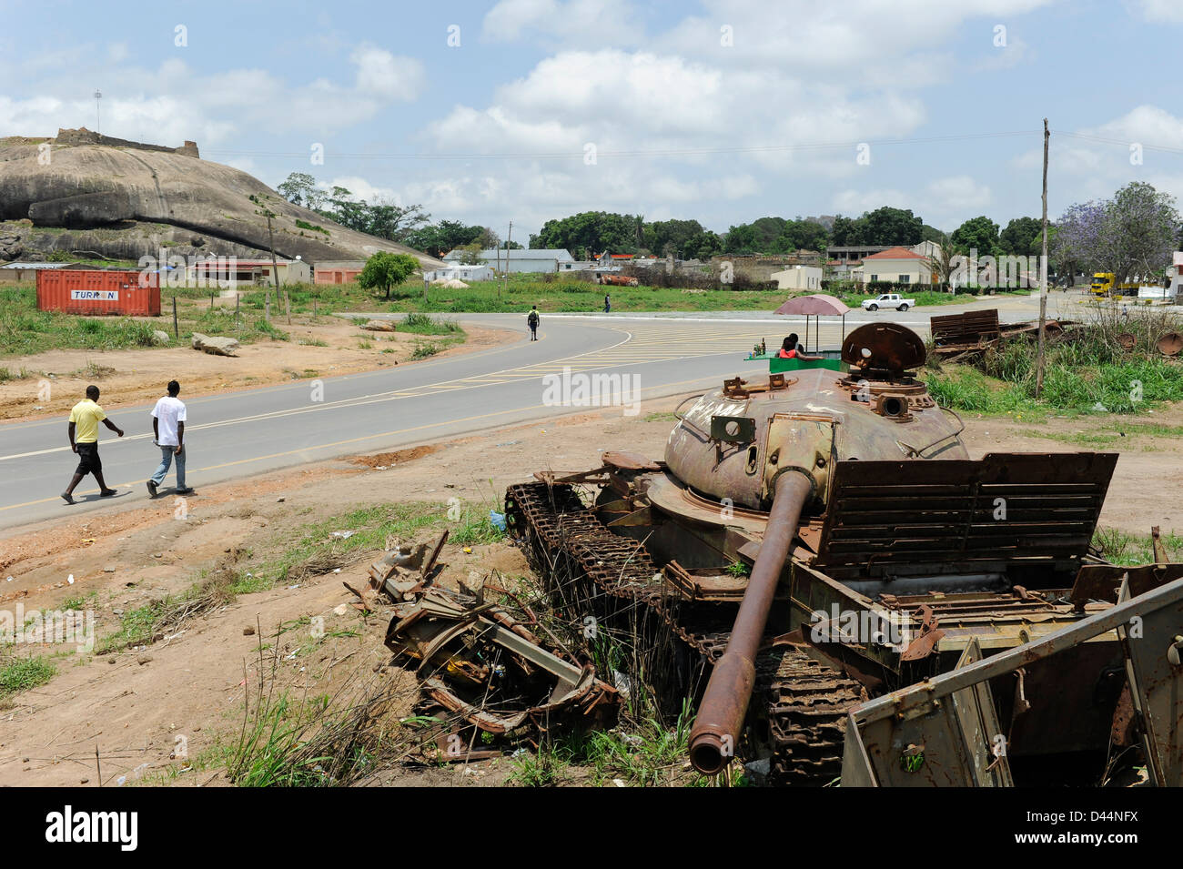 Africa ANGOLA old soviet tank from civil war between MPLA and UNITA in Quibala - Stock Image