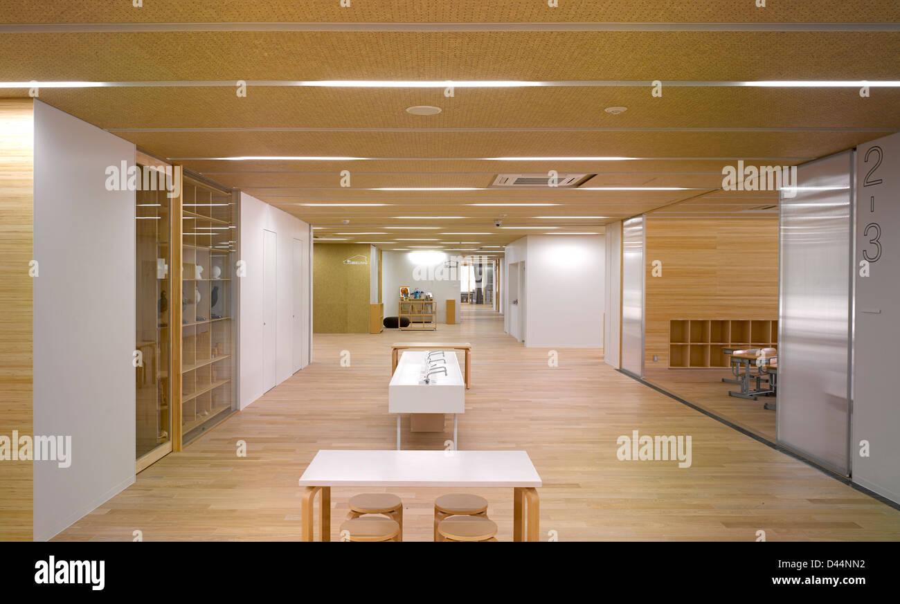 Teikyo University Elementary School, Tokyo, Japan. Architect: Kengo Kuma,  2012. Interior View Main Corridor.